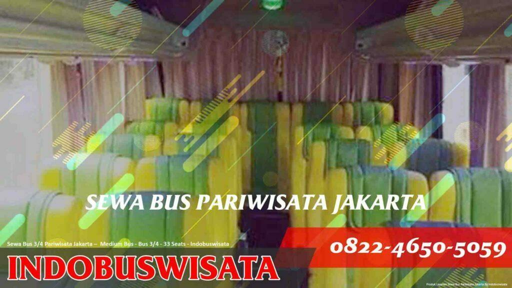 Sewa Bus 3 Per 4 Jakarta – Sewa Bus Pariwisata – Medium Bus 3 Per 4 33 Seats Interior Hadap Belakang